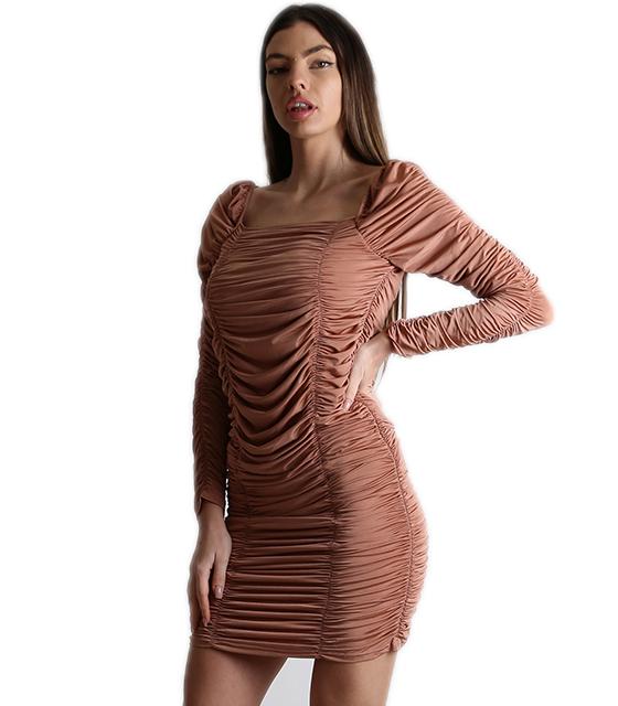 Εφαρμοστό φόρεμα με σούρα (Μπεζ)