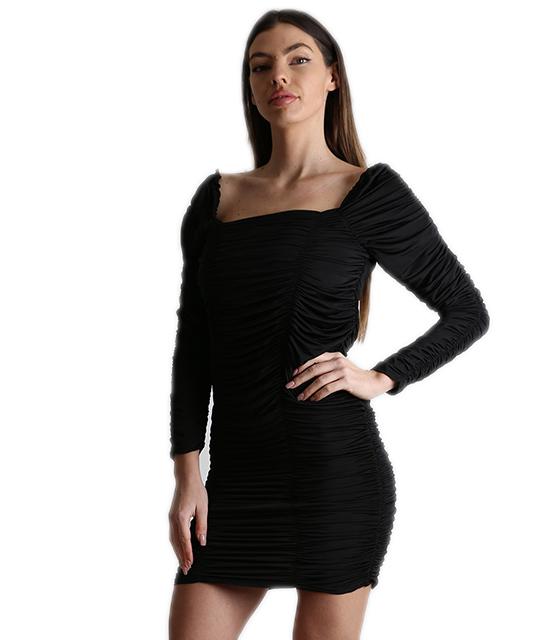 Εφαρμοστό φόρεμα με σούρα (Μαύρο)