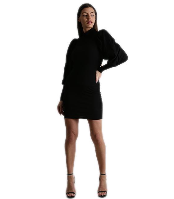 Φόρεμα εφαρμοστό ριπ με φουσκωτά μανίνια ζιβάγκο (Μαύρο)