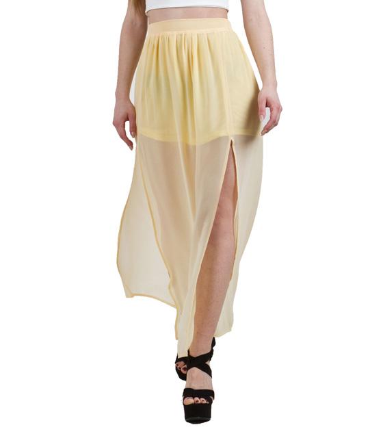 Φούστα κίτρινη μάξι από διαφάνεια με σκισίματα