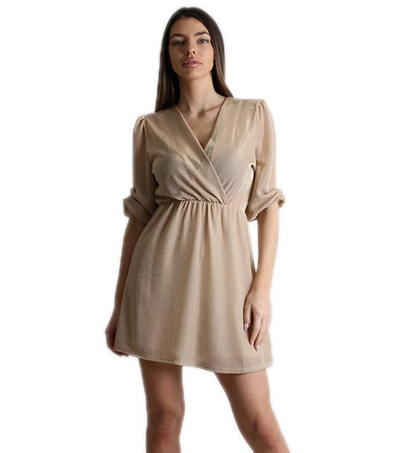 Φόρεμα κρουαζέ λούρεξ με λάστιχο στα μανίκια (Μπεζ)