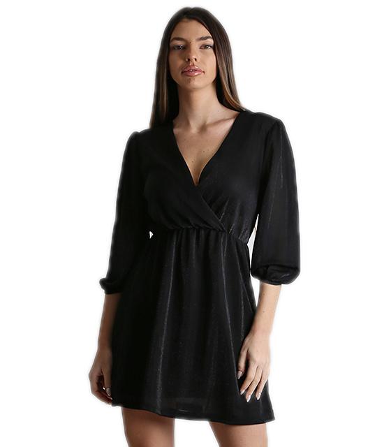 Φόρεμα κρουαζέ λούρεξ με λάστιχο στα μανίκια (Μαύρο)
