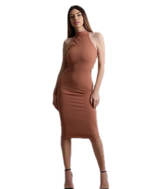 Midi αμάνικο εφαρμοστό φόρεμα (Νουντ - Nude)