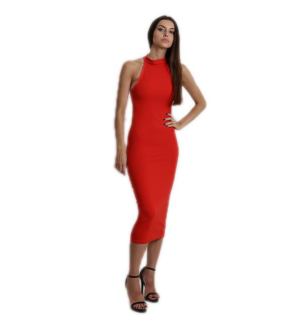 Midi αμάνικο εφαρμοστό φόρεμα (Κόκκινο)