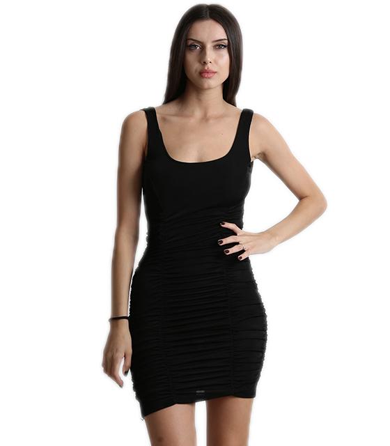 Εφαρμοστό φόρεμα σουρωτό με επένδυση (Μαύρο)