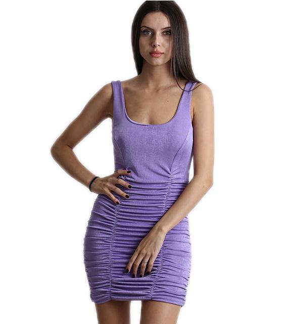 Εφαρμοστό φόρεμα σουρωτό με επένδυση (Μωβ)