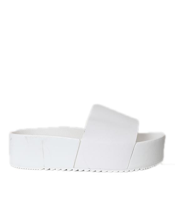 Παντόφλα δερματίνη με δερματίνη λουράκι (Λευκό)