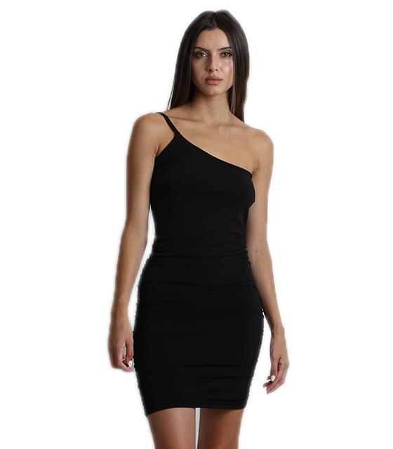 Μαύρο φόρεμα με έναν ώμο και σούρα στο πλάι